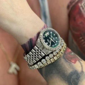 Rolex DATEJUST 36mm Iced Diamonds Green Dial
